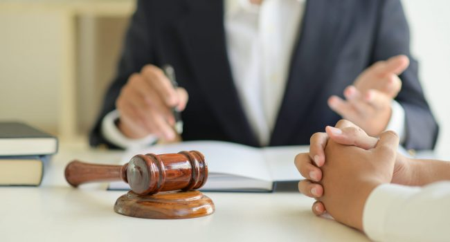 Lawyers are giving legal advice to clients.